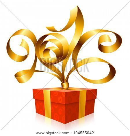 Vector golden ribbon and red gift box. Symbol of New Year 2016