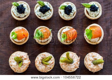 Top View Of Multiple Mini Pastry Tartlets.