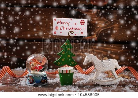 Christmas Vintage Decoration With Snow On Wooden Background