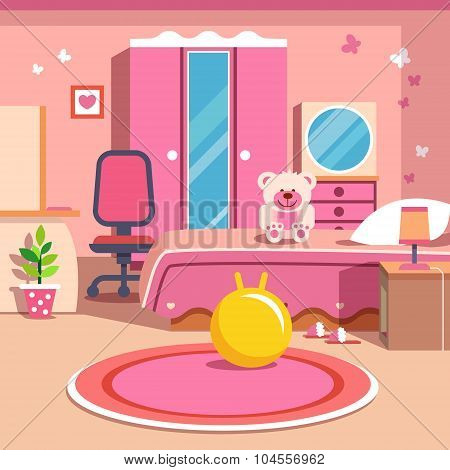 Girls all pink bedroom interior