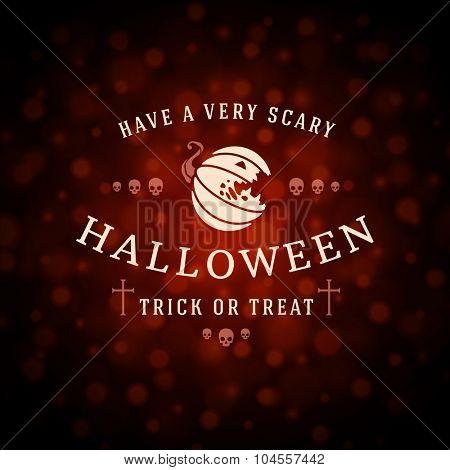 Happy Halloween Typographic Design Vector Background and Pumpkin