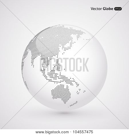Vector abstract dotted globe, Central heating view on Australia and New Zealand