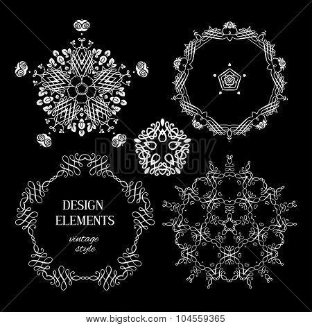 Vintage white ornaments on black background. Design for vintage background, card, banner, leaflet and so on.