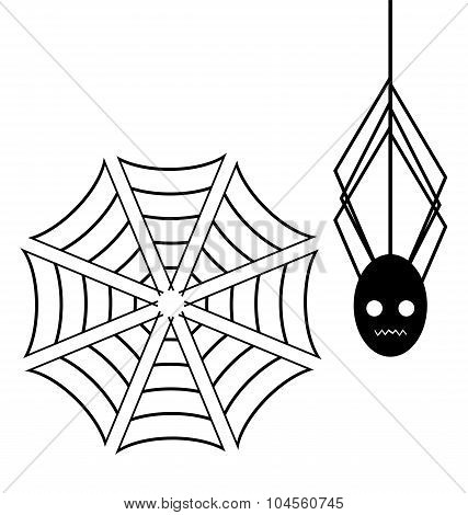 Spiderweb With Spider On White Background