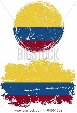 Colombian round and square grunge flags. Vector illustration.