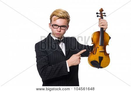 Young musician with violin isolated on white