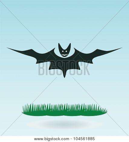 Cartoon Bat Spreading His Wings, Halloween Illustration