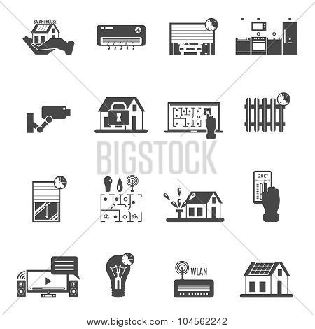 Smart House Black White Icons Set
