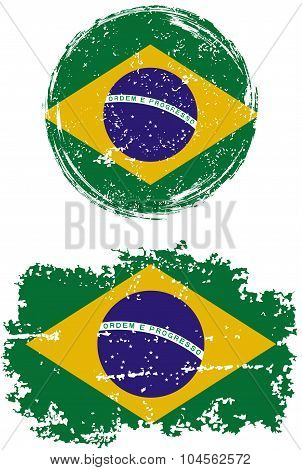 Brazilian round and square grunge flags. Vector illustration.