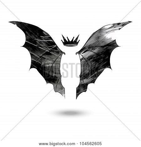 Bat wings with crown