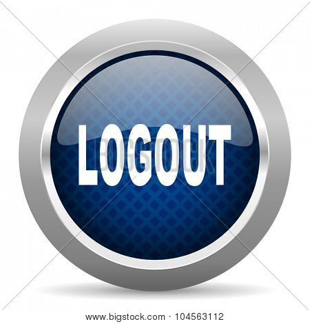 logout blue circle glossy web icon on white background, round button for internet and mobile app