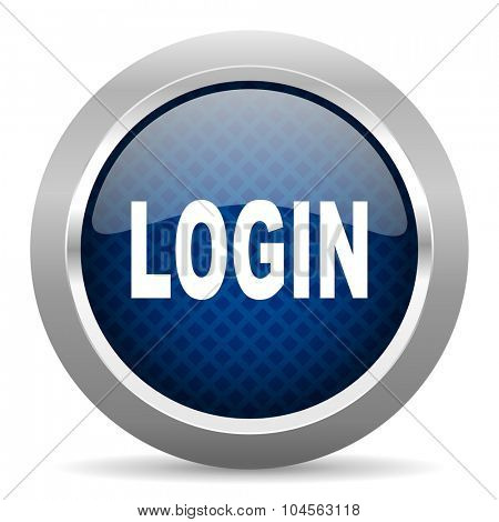 login blue circle glossy web icon on white background, round button for internet and mobile app
