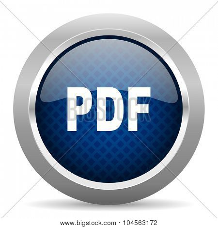 pdf blue circle glossy web icon on white background, round button for internet and mobile app