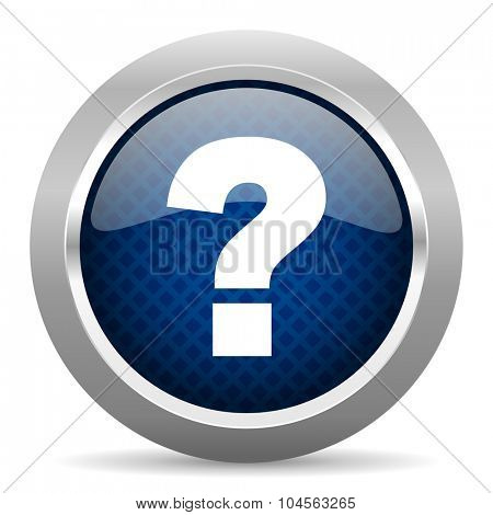 question mark blue circle glossy web icon on white background, round button for internet and mobile app