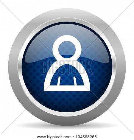 person blue circle glossy web icon on white background, round button for internet and mobile app