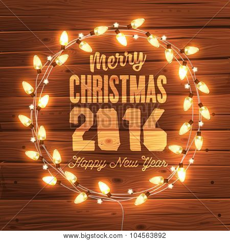 Glowing Christmas Lights Wreath for Xmas Holiday Greeting Cards Design. Wooden Hand Drawn Background.