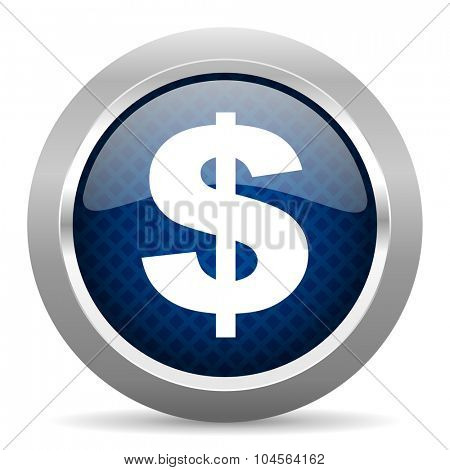 dollar blue circle glossy web icon on white background, round button for internet and mobile app