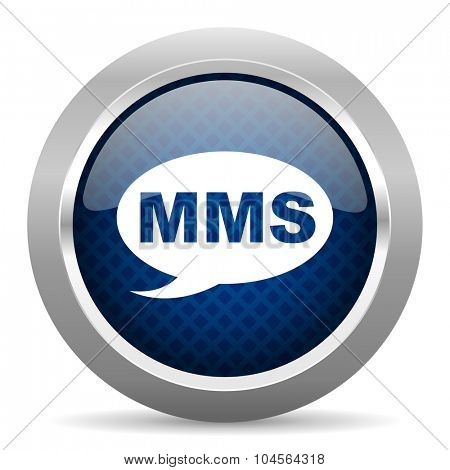 mms blue circle glossy web icon on white background, round button for internet and mobile app