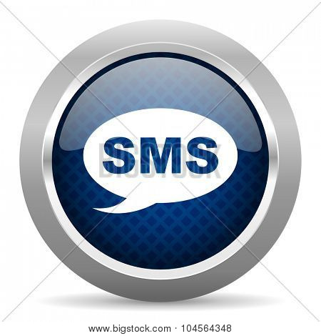 sms blue circle glossy web icon on white background, round button for internet and mobile app