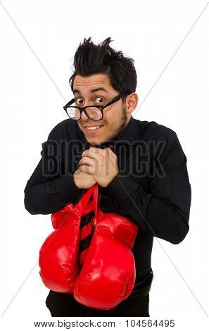 Man businessman with red boxing gloves