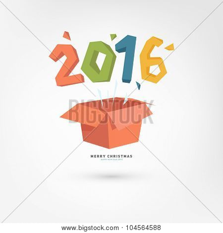 New Year Gift Box with 2016. Holiday Design. Flat Cartoon Style.