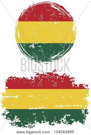 Bolivian round and square grunge flags. Vector illustration.
