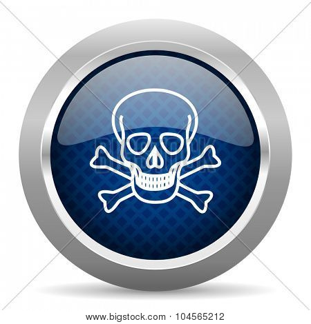skull blue circle glossy web icon on white background, round button for internet and mobile app