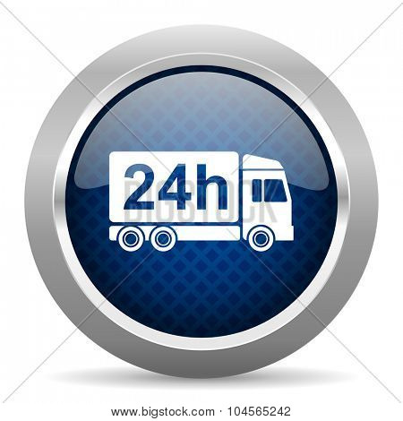 delivery blue circle glossy web icon on white background, round button for internet and mobile app