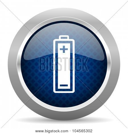 battery blue circle glossy web icon on white background, round button for internet and mobile app