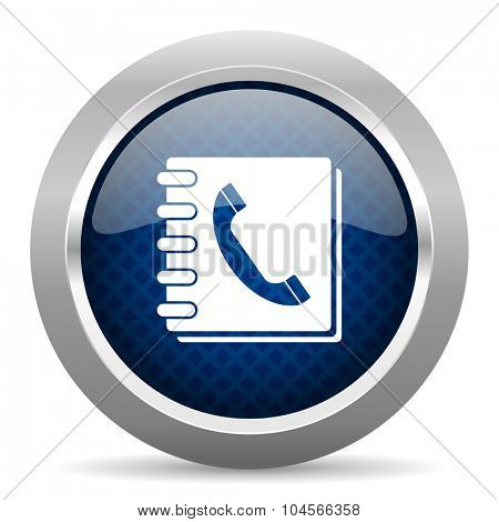 phonebook blue circle glossy web icon on white background, round button for internet and mobile app