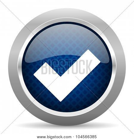 accept blue circle glossy web icon on white background, round button for internet and mobile app