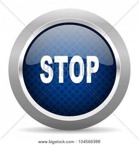 stop blue circle glossy web icon on white background, round button for internet and mobile app