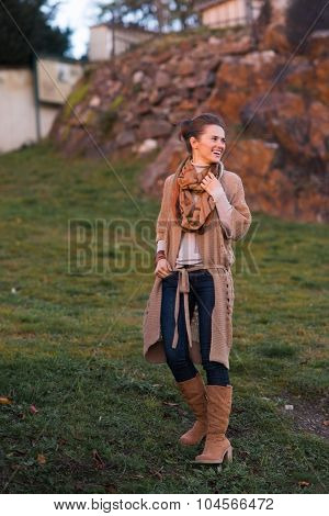 Laughing Urban Elegant Woman Walking In Evening Autumn Park