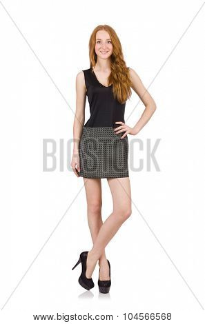 Red hair girl in gray dress isolated on white