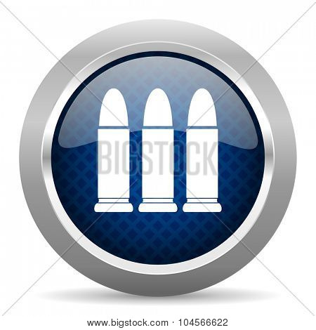 ammunition blue circle glossy web icon on white background, round button for internet and mobile app