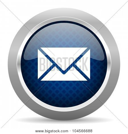 email blue circle glossy web icon on white background, round button for internet and mobile app