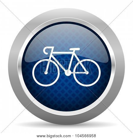 bicycle blue circle glossy web icon on white background, round button for internet and mobile app