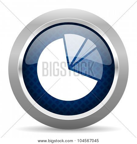 diagram blue circle glossy web icon on white background, round button for internet and mobile app