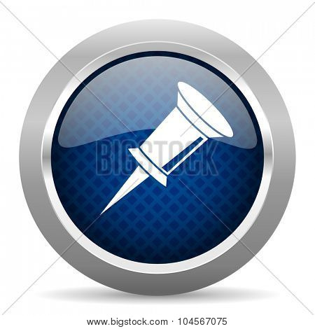 pin blue circle glossy web icon on white background, round button for internet and mobile app