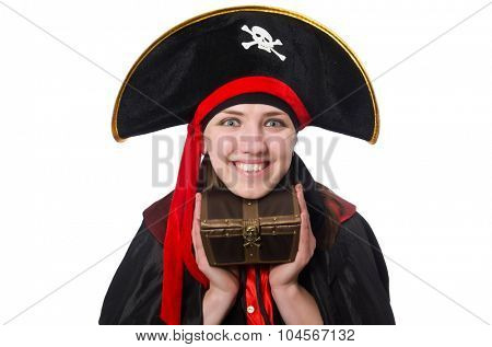 Female pirate in black coat isolated on white