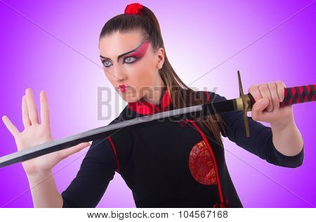 Woman in japanese martial art concept