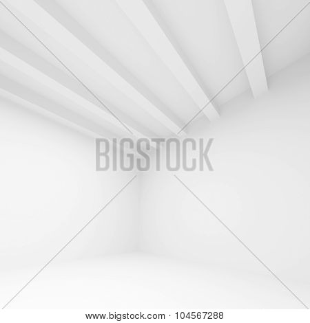 Abstract White Architecture Background, 3D Room