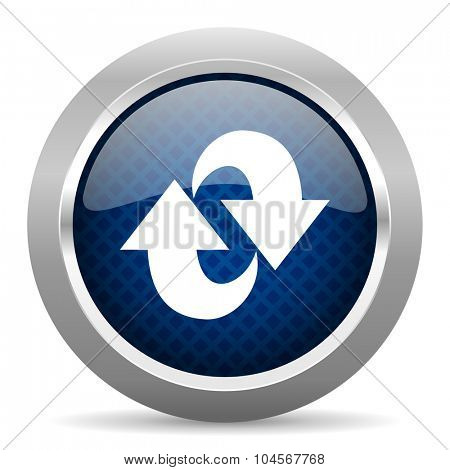 rotation blue circle glossy web icon on white background, round button for internet and mobile app