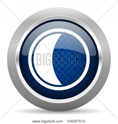 moon blue circle glossy web icon on white background, round button for internet and mobile app