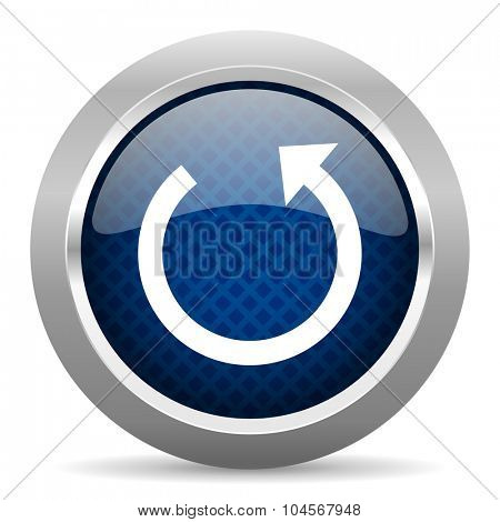 rotate blue circle glossy web icon on white background, round button for internet and mobile app