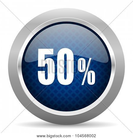 50 percent blue circle glossy web icon on white background, round button for internet and mobile app