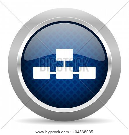 database blue circle glossy web icon on white background, round button for internet and mobile app