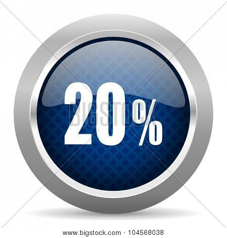 20 percent blue circle glossy web icon on white background, round button for internet and mobile app