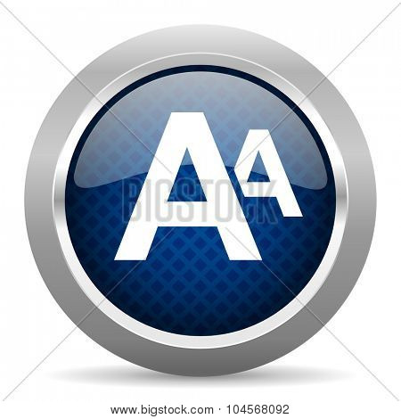 alphabet blue circle glossy web icon on white background, round button for internet and mobile app