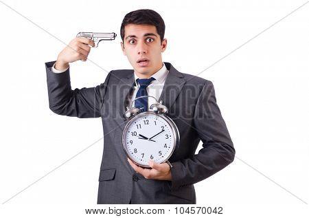 Man with clock and gun